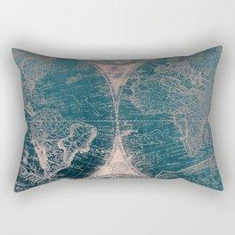 Antique Map Rose Gold Navy Blue Rectangular Pillow