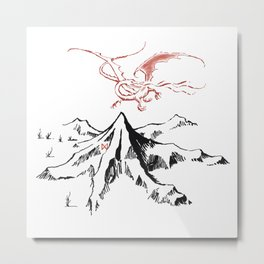 The Lonely Dragon in flight on the Mountain Metal Print