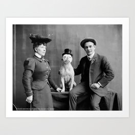 Vintage Photo of Dog Smoking Cigarette, 1900 Art Print