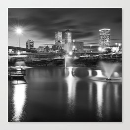 Tulsa Skyline Square Black and White Canvas Print