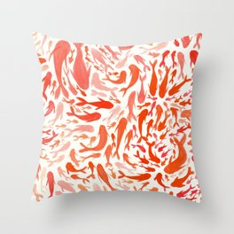 Koi - Coral & White Throw Pillow