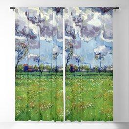 Landscape under a Stormy Sky by Vincent van Gogh - Vintage Painting Blackout Curtain