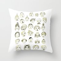 faces Throw Pillows featuring Faces by Wood + Ink