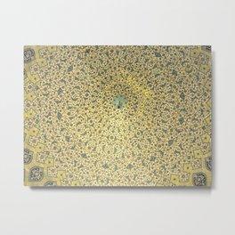 Persian Decorative Goden Floral Mosaic Pattern Metal Print
