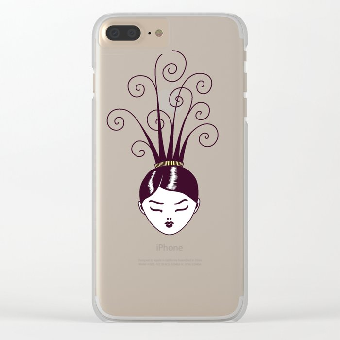 Strange Hair And Flowery Swirls Clear iPhone Case