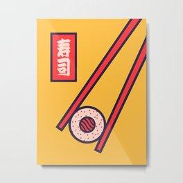 Sushi Minimal Japanese Food Chopsticks - Yellow Metal Print
