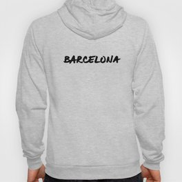 'Barcelona' Spain Hand Letter Type Word Black & White Hoody