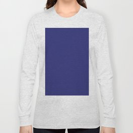 Navy Blue Solid Color Long Sleeve T-shirt