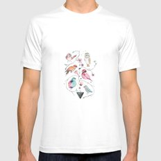 BIRDS OF THE WILD White MEDIUM Mens Fitted Tee