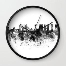 Lisbon skyline in black watercolor Wall Clock