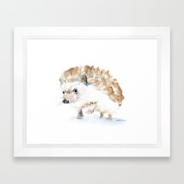 Hedgehog Watercolor Framed Art Print