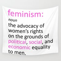 feminism Wall Tapestries featuring Feminism Defined by tjseesxe