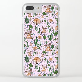 Fennec Foxes in Pink Clear iPhone Case