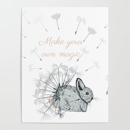 Cute little bunny with dandelions  Poster