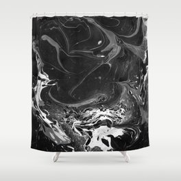 // MARBLED BLACK // Shower Curtain
