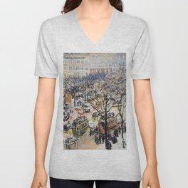 Camille Pissarro - Boulevard Des Italiens, Morning, Sunlight - Digital Remastered Edition Unisex V-Neck