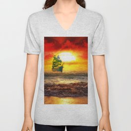 Black Pearl Pirate Ship Unisex V-Neck