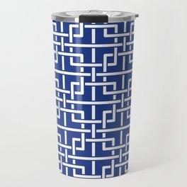 Tangled squares Chinoiserie in blue & white Travel Mug
