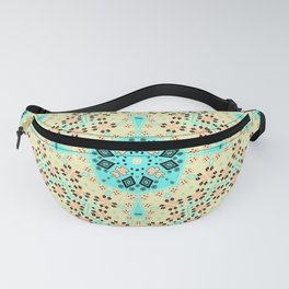 Colorful yellow turquoise ornament . Fanny Pack