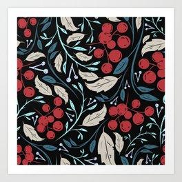 Holiday Holly and Mistletoe Pattern Art Print