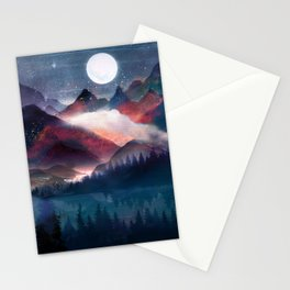 Mountain Lake Under the Stars Stationery Cards