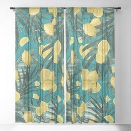 Summer Lemon Twist Jungle #5 #tropical #decor #art #society6 Sheer Curtain