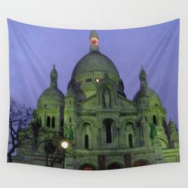 Sacre Coeur at night Wall Tapestry