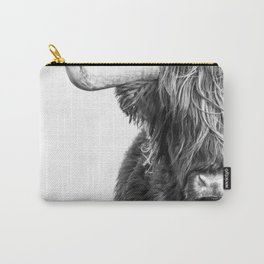 Highland Cow Portrait - Black and White Carry-All Pouch