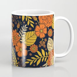 Retro Orange, Yellow, Brown, & Navy Floral Pattern Coffee Mug