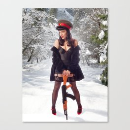 """Sovietsky on Ice"" - The Playful Pinup - Russian Theme Pin-up Girl in Snow by Maxwell H. Johnson Canvas Print"