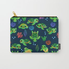 Sea Turtles Blue Ocean Watercolor Pattern Carry-All Pouch