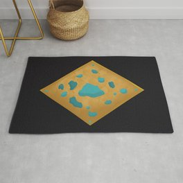 Aqua pools on wood charm Rug