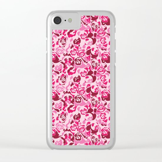 Pug Camouflage Pink Clear iPhone Case
