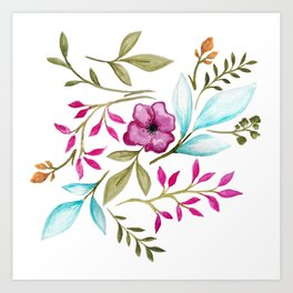 Watercolor Botanical Floral Leaves by Ms. Parasol Art Print