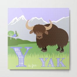 Y is for Yak Metal Print