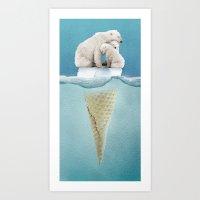 ice Art Prints featuring polar ice cream cap 02 by Vin Zzep