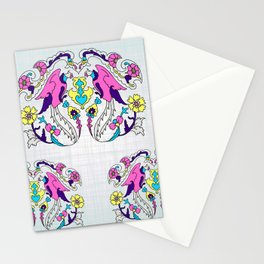 pink bird and yellow floral design Stationery Cards