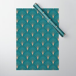 Vintage Art Deco Floral Copper & Teal Wrapping Paper