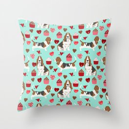 Basset Hound valentines day cute gifts for dog lover pet portrait dog breed custom illustration Throw Pillow