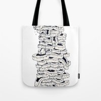 meat Tote Bags featuring mass meat by Emek Haikel