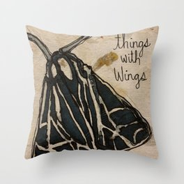 things with wings moth Throw Pillow