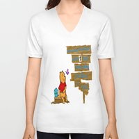 winnie the pooh V-neck T-shirts featuring Winnie The Pooh by LaLunaBee