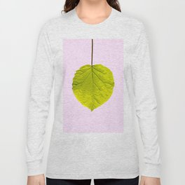 Bright Green Leaf On A Pink Background #society6 #buyart Long Sleeve T-shirt