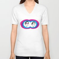 virginia V-neck T-shirts featuring Virginia Woolf by Mohac
