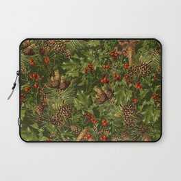 Traditional Holly Christmas Pattern Laptop Sleeve