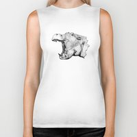 hippo Biker Tanks featuring Hippo by MattLeckie