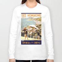 hong kong Long Sleeve T-shirts featuring HONG KONG by Kathead Tarot/David Rivera