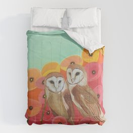 Owls in a Poppy Field Comforters