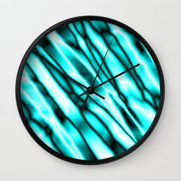 Shiny metal crooked mirror with light blue reflective diagonal stripes. Wall Clock