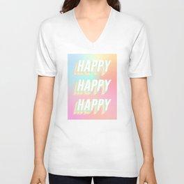 Choose HAPPY - rainbow #positivity Unisex V-Neck